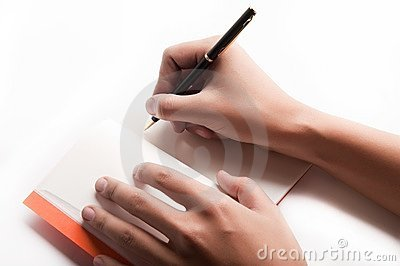 Pen is being held in hand