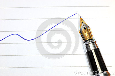 Pen and blue curve