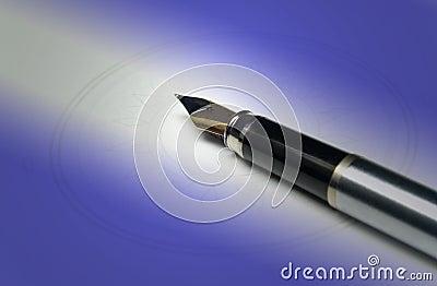 Pen on blue light