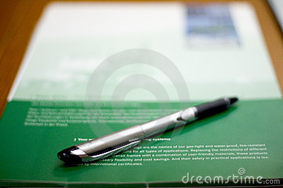 Pen and brochure