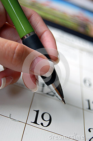Pen And Calender Royalty Free Stock Photography - Image: 26080087