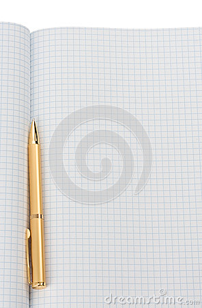 Pen on checked notepad