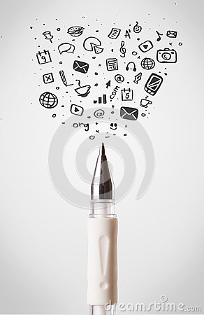 Pen close-up with social media icons