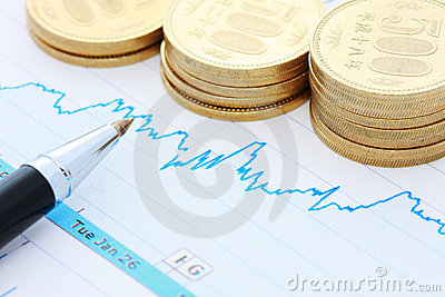 Pen coins and chart