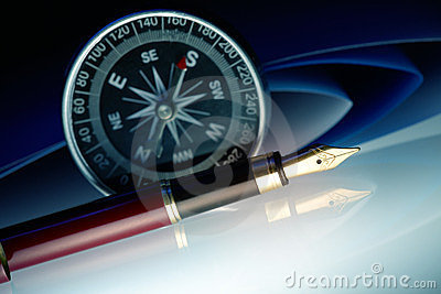 Pen with compass