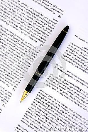 Pen on a document closeup