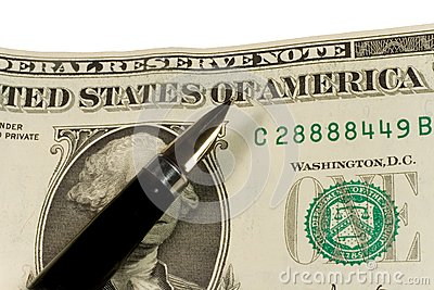Pen on dollar bills