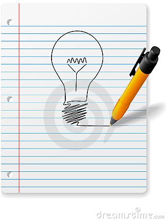 Pen drawing idea light bulb notebook Paper