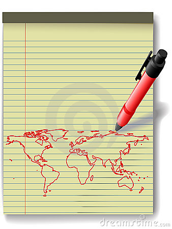 Pen drawing World Map on Legal Pad Paper red ink