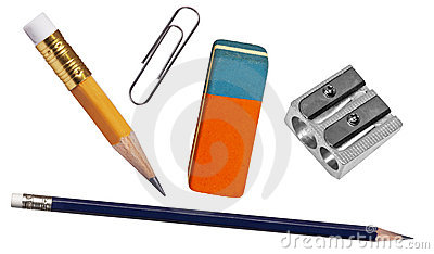 Pen, eraser, paper clip  and sharpener