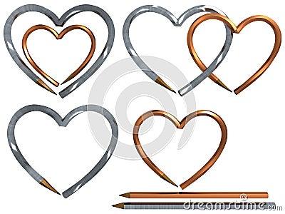 Pen in heart shape isolated