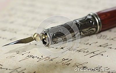Pen holder on an old letter