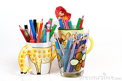 Pen holders with colored pens