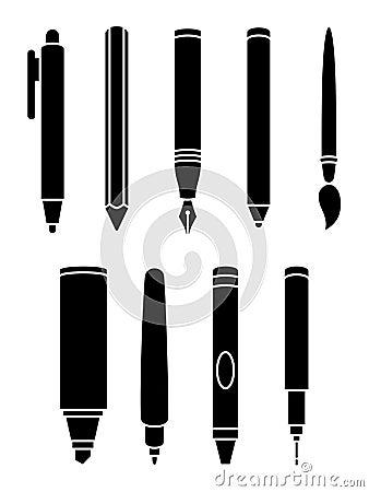 Free Pen Icons Royalty Free Stock Photos - 38887618