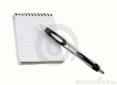 Pen on a spiral notepad