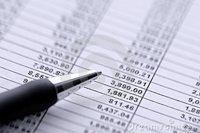 Pen over Dollar Money Budget Financial Spreadsheet
