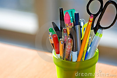 Pen and Pencil Holder on Desk