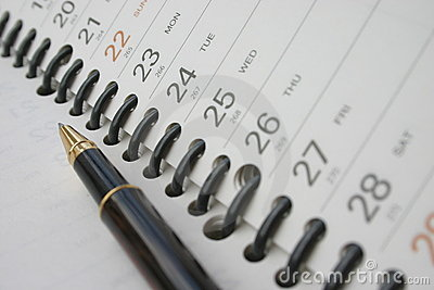 Pen on planning diary