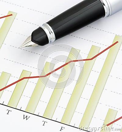 Pen on Positive Earning Graph
