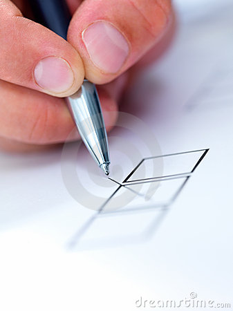 Pen putting a cross on paper