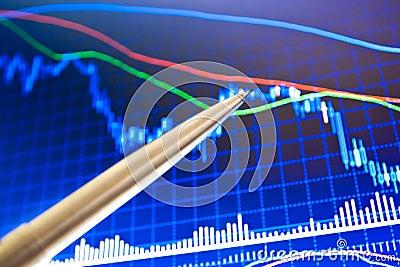Pen showing a financial chart on screen