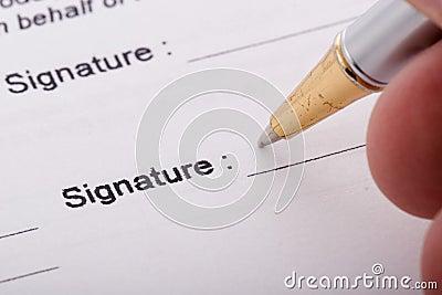 Pen signing form