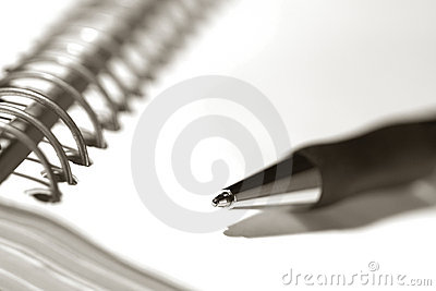 Pen on Spiral Notebook Journal Empty Blank Page