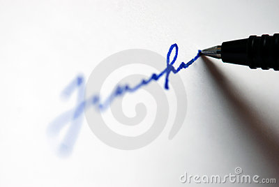 Pen writing something