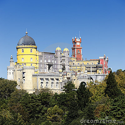 Pena National Palace in Sintra in summer