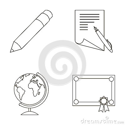 Free Pencil, A Sheet Of Paper With A Blue Handle, A Diploma With A Seal, A Globe On A Stand.School Set Collection Icons Stock Image - 92919971