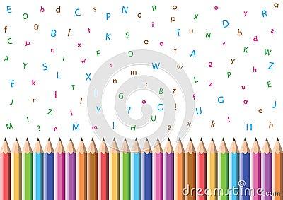 Pencil and alphabet