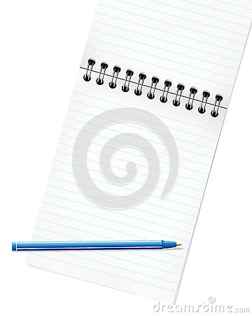 Pencil and blank page of a notebook