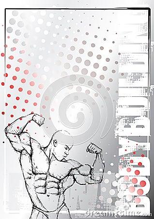 Pencil bodybuilding grunge background