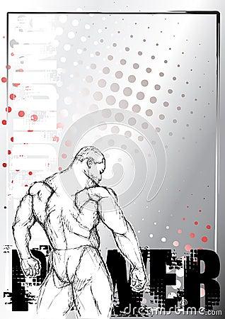Pencil bodybuilding sketching background