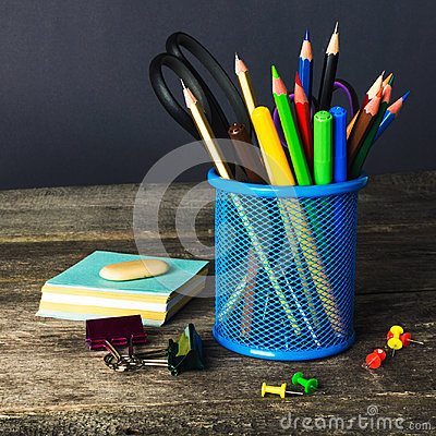Free Pencil-box And School Equipment On Table. Back To School Royalty Free Stock Image - 97903436