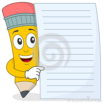 Pencil Character with Blank Paper
