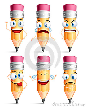 Free Pencil Character Facial Expressions, Emotions And Hand Gestures Stock Photography - 72233122