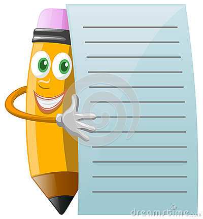 Pencil Character with note paper