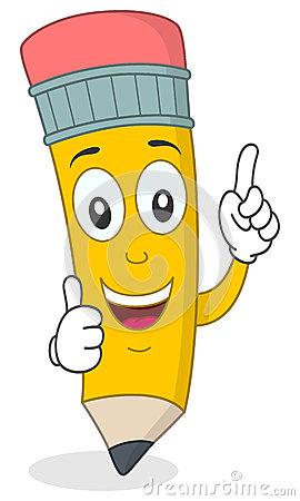 Pencil Character with Thumbs Up