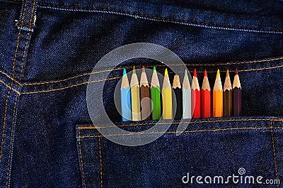 Pencil color in jean pocket