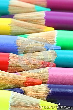 Free Pencil Crayons, Horizontal Rainbow Of Colors Stock Photos - 12392933
