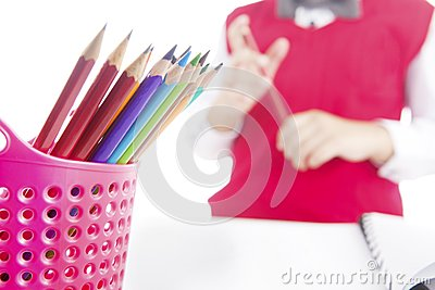 Pencil crayons in pencil holder