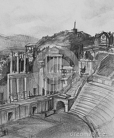 Pencil Drawing of Antique Theatre in Plovdiv