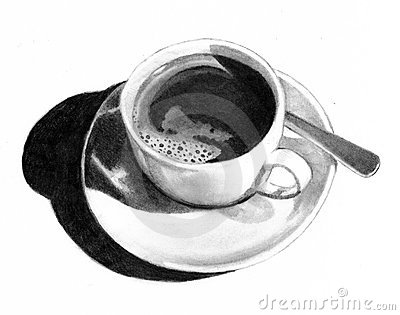 Pencil Drawing Of Cup Of Coffee Royalty Free Stock Image - Image ...