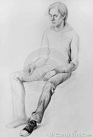 Free Pencil Drawing (Model, Human,  Anatomic Drawing) Stock Photography - 50385222
