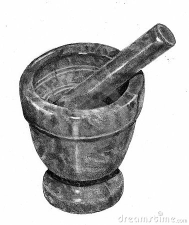 Pencil Drawing of Mortar and Pestle