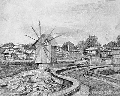 Pencil Drawing of Nesebar Old Windmill