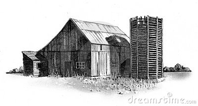 Pencil Drawing of Old Barn and Silo