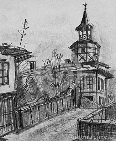 Pencil Drawing of The Old Clock Tower in Tryavna