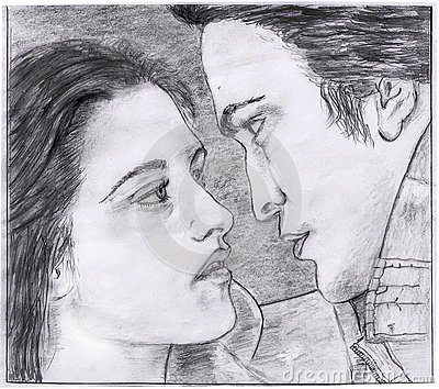 Pencil drawing of Twilight Saga movie scene Stock Photo